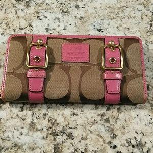 Coach Pink Logo Buckle Wallet